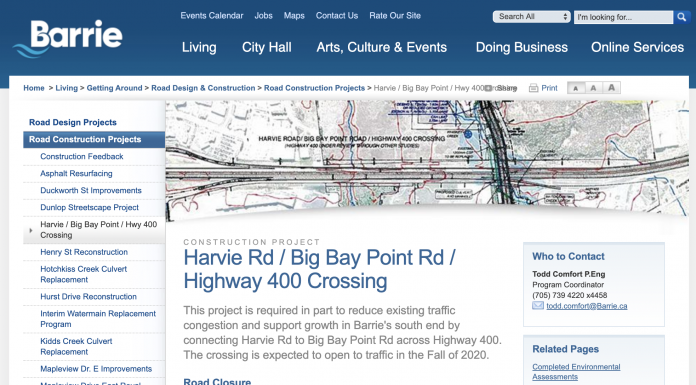 barrie harvie road project