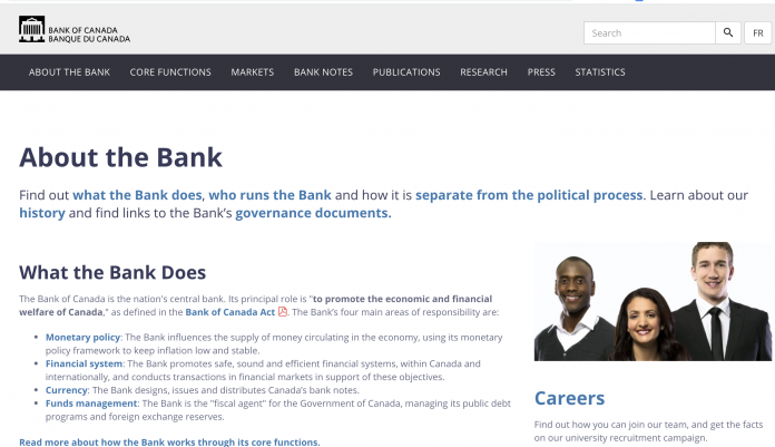 bank of canada webpage