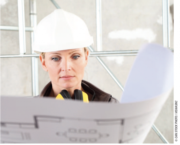 women in construction stock image