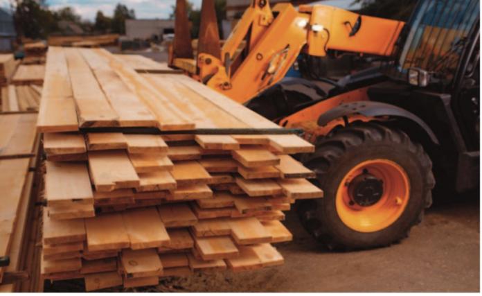 lumber forklift stock image