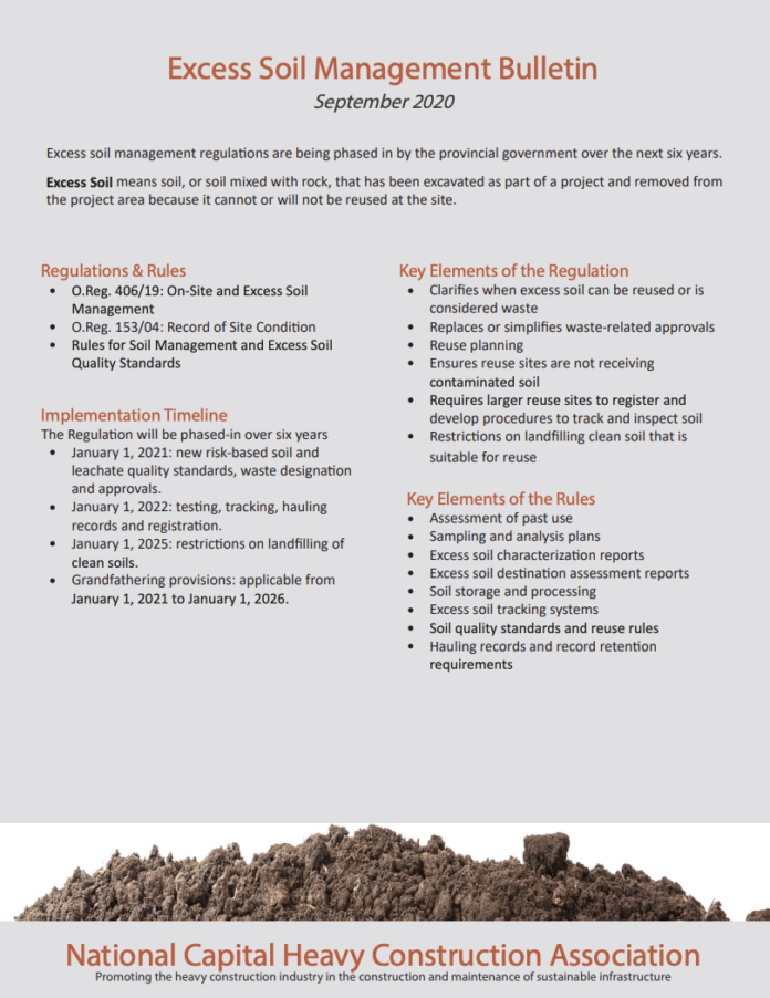 excess soil bulletin nchca
