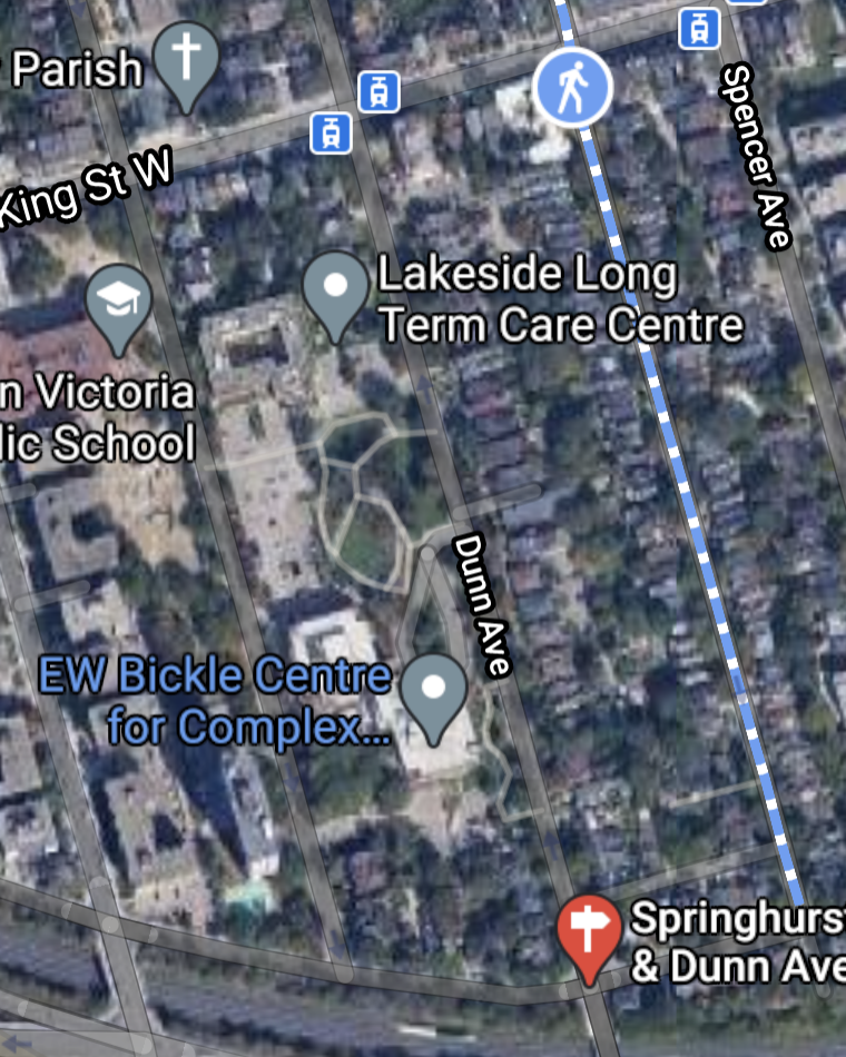 the block bounded by King Street West, Close Avenue, Dunn Avenue and Springhurst Avenue