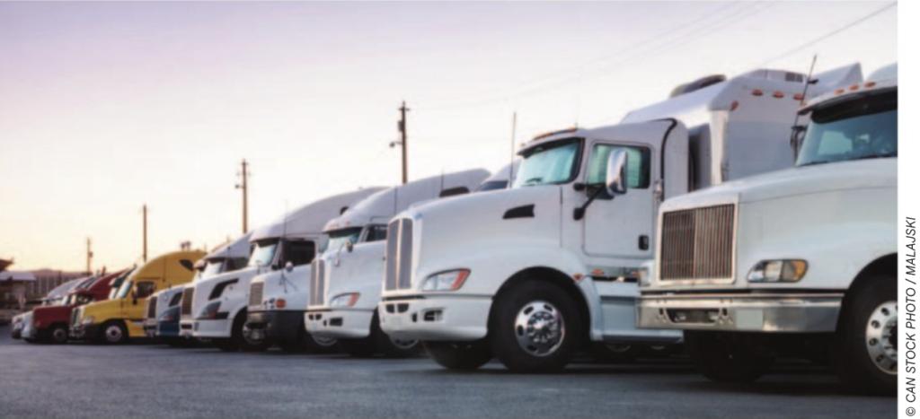 parked trucks stock image