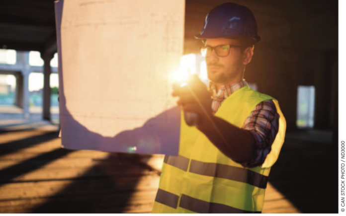 worker with energy saving stock